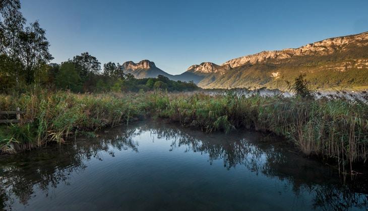 Panorama sur les Bauges, depuis la réserve naturelle du Bout-du-Lac
