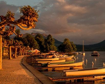 Coucher de soleil sur le port de Veyrier-du-Lac